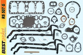 Ford V8 21 Stud Gasket set, V1002, Ford# 40-6051B, McCord 5842, Fitz 1420